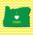 Cute yellow chevron I love Oregon card vector image