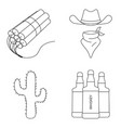 wild west icons set isolated vector image