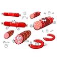 Cartoon sausages salami wurst and ham vector image