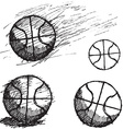 Basketball ball sketch set isolated on white vector image