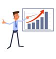 Cartoon businessman presents growth chart vector image
