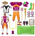 Football icons set sport equipment and uniform vector image
