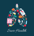 lungs with dietetics and urology medical icons vector image