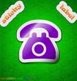 Retro telephone icon sign Symbol chic colored vector image