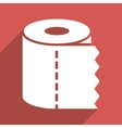 Toilet Paper Roll Flat Longshadow Square Icon vector image