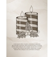 Vintage christmas card with candle and holly vector image