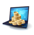 Laptop and money vector image