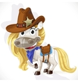 Cute saddled white Horse in a cowboy hat vector image