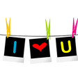 I love you concept with photo frames hanging on vector image