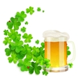 Mug of light beer on green clovers swirl vector image vector image