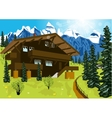 wooden chalet in mountain alps vector image