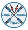 Color vintage repair computers and laptops emblem vector image