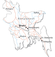 Bangladesh Black White Map vector image