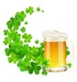 Mug of light beer on green clovers swirl vector image