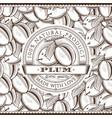 vintage plum label on seamless pattern vector image