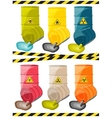 Toxic chemicals leak out of the container with the vector image