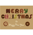 Merry Christmas Chocolate Donuts font vector image