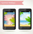 phone with a photo of sunset palm trees and beach vector image