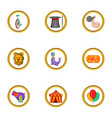 circus icon set cartoon style vector image