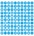100 department icons set blue vector image
