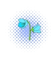 Bell flower icon comics style vector image