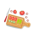 Cut Tomato Cucumber And Salad On Cutting Board vector image