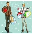 Happy couple with shopping bags and present boxes vector image
