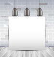 mock up frame in the room with white brick wall vector image