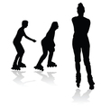 recreation on rollerblades silhouette vector image
