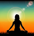 Silhouette of yoga woman on sunset background vector image