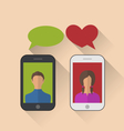 two lovers communicating with the mobile phones vector image