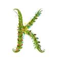 Flower letter K calligraphy floral elegant vector image