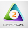 Number two logo symbol in the colorful triangle on vector image