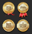 luxury golden badges collection vector image