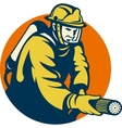 Firefighter or fireman aiming a fire hose vector image vector image