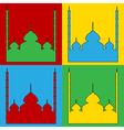 Pop art mosque icons vector image