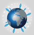 people sending email on the earth vector image vector image