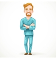 Cute male doctor in green surgical suit with arms vector image