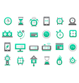 Clocks green gray icons set vector image vector image
