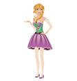 Blonde girl in spring dress vector image