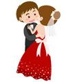 bride and groom hugging vector image