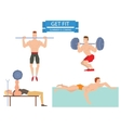 Cartoon sport gym people group exercise on fitness vector image