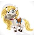 Cute cartoon white baby horse vector image