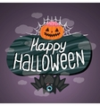 Happy Halloween sign with pumpkin bat web vector image