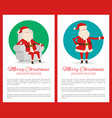merry christmas happy new year cute santa claus vector image