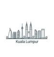 outline kuala lumpur banner vector image