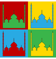Pop art mosque icons vector image