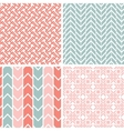 Set of four gray pink geometric patterns and vector image