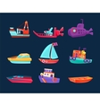 Water Transport Toy Icon Set vector image