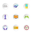 Video games icons set cartoon style vector image